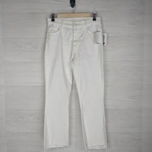 NWT Mother Glass Slipper Crop White Jeans *Defect